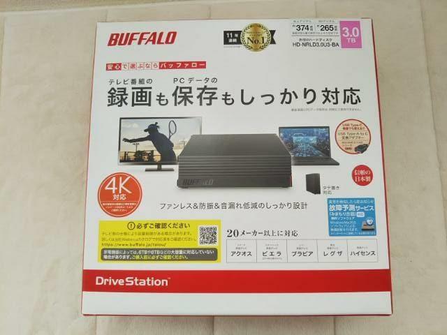 バッファローのハードディスクが入った箱の画像