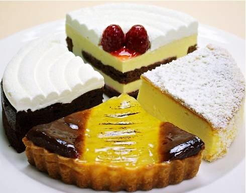 木かげ茶屋のケーキセットの4種類のケーキ