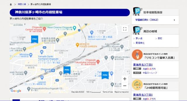 茅ヶ崎市のPMC月極駐車場の地図